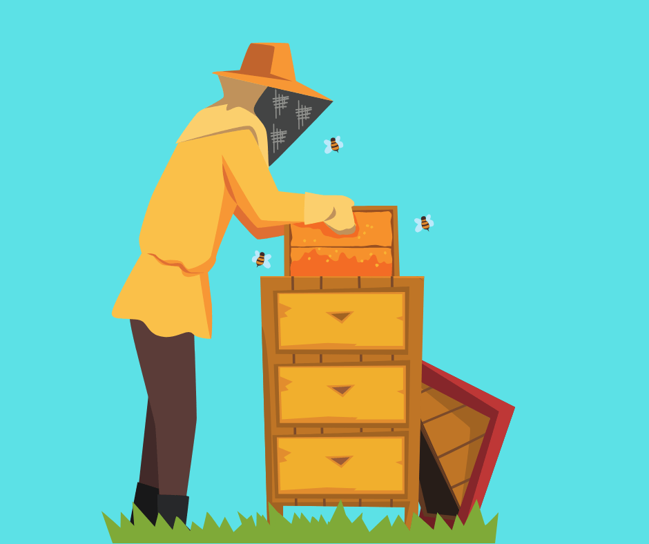 Beekeeper with hive on blue background